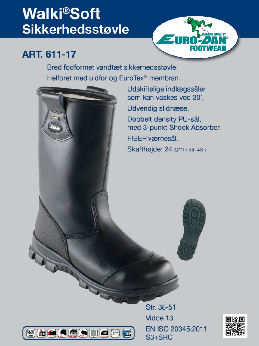 63a2d61cfff Helforet vinterstøvle med uldfor og EuroTex® membran. Udskiftelige  indlægssåler som kan vaskes ved 30°. Udvendig slidnæse. Dobbelt density  PU-sål,