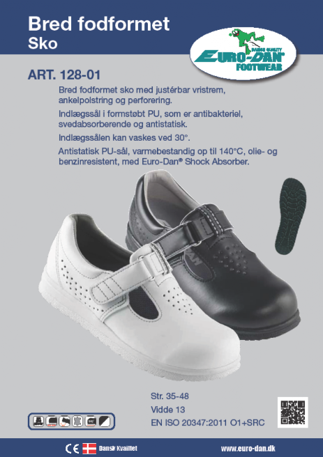 55407cbae84 Bred fodformet sko med justérbar vristrem, ankelpolstring og perforering.  Indlægssål i formstøbt PU, som er antibakteriel, svedabsorberende og  antistatisk.